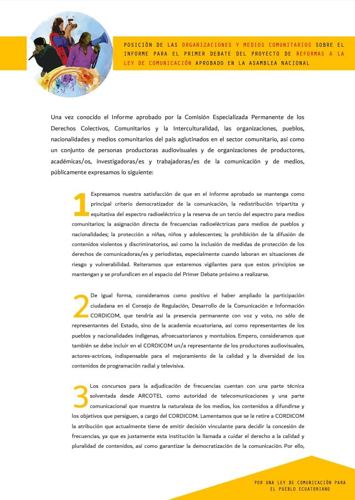 Observaciones del Sector Comunitario al Informe Ley de Comunicación Ecuador